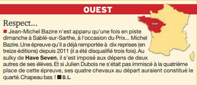 Jean-Michel Bazire Fan-Page Petit article sur la victoire de JMB dans le Prix Michel Bazire à Sablé sur Sarthe. Paris-Turf